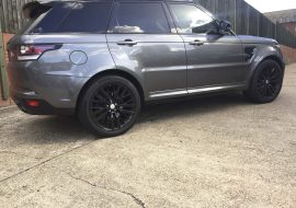 Range Rover SVR powder coated black wheels