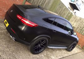 Mercedes GLE car wrapped in Satin Black