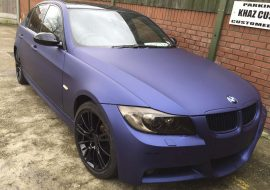 BMW E90 wrapped Matte Blue