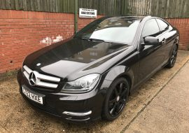 Merc C Class wrapped in Metallic Black