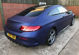 Matte Blue wrapped Mercedes by Khaz Customs