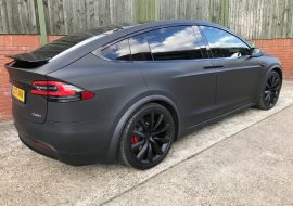 Tesla Model X Wrapped in Matte Black