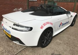 Aston Martin with dominos branding by Khaz Customs