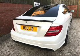 Khaz Customs wrapped Mercedes C250 in Satin White